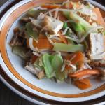ブロッコリーの茎と厚揚げの野菜炒め