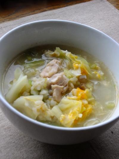 キャベツの中華風雑炊