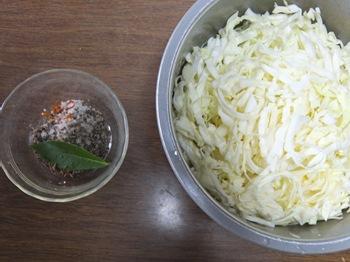 刻みキャベツと塩、香辛料