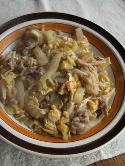 白菜と卵のとろみ炒め