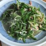 水菜とベーコンのソテー