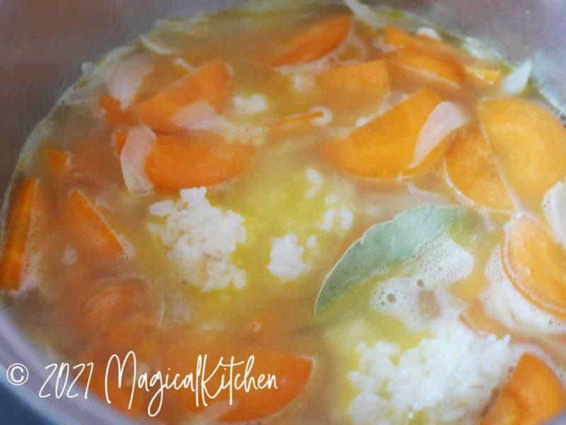スープで煮る