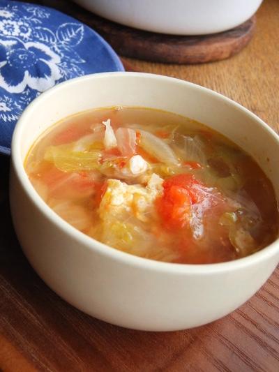 トマトとレタスと卵のスープ