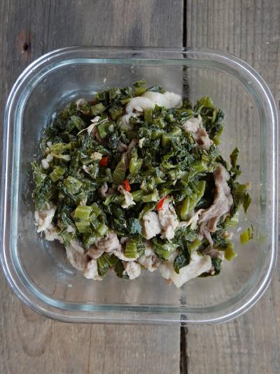 豚と高菜漬けの炒め物