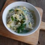 ニラともやしの春雨卵スープ