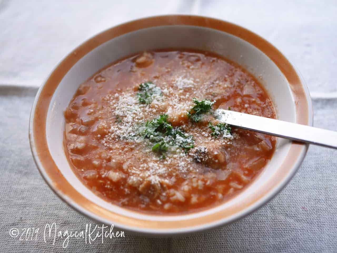 サバ缶のトマト雑炊