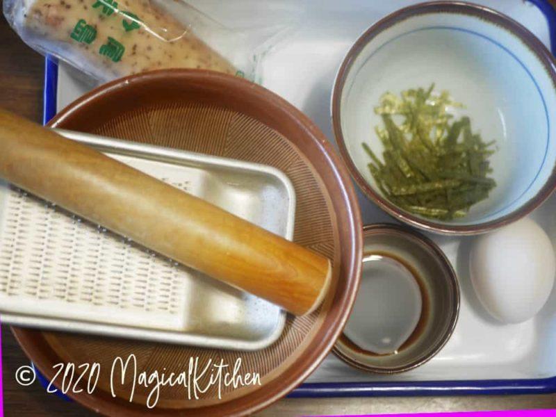 とろろご飯の材料と道具