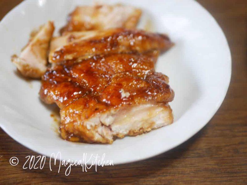 生焼けの鶏の照り焼き